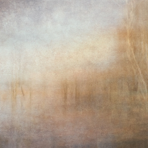 Impressionist bright lake scene . Single intentional camera movement exposure and texture layers.