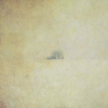 Impressionist rural scene of a lone tree. Single intentional camera movement exposure and texture layers.