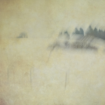 Impressionist rural winter scene. Single intentional camera movement exposure and texture layers.