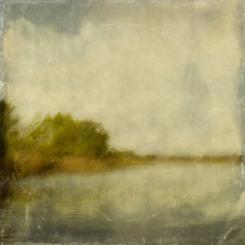 Impressionist scene by a lake