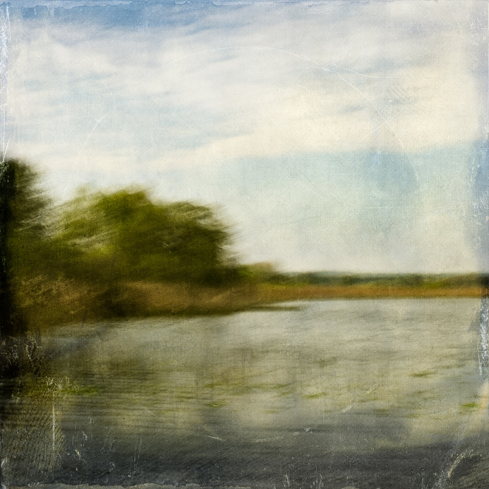 Impressionist scene by a lake in May