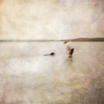 Impressionist scene of a dog and a woman in a lake. Volume 48 in this series