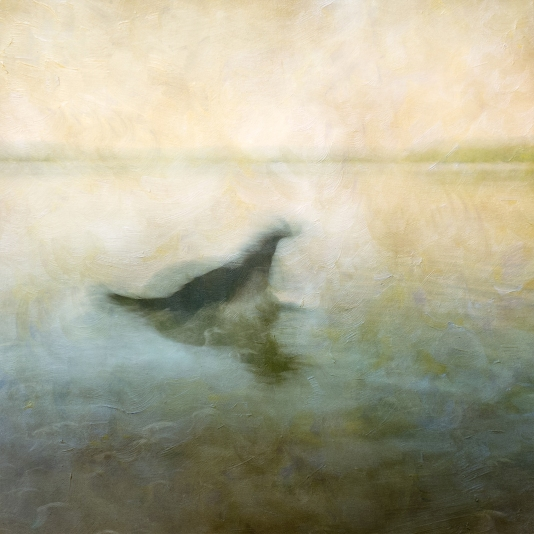 Impressionist scene of a dog in a lake. Volume 44 in this series