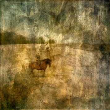 Impressionist abstract rural scene of a horse and rider in a field. Volume 14 in this series