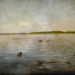 Impressionist abstract scene by a lake